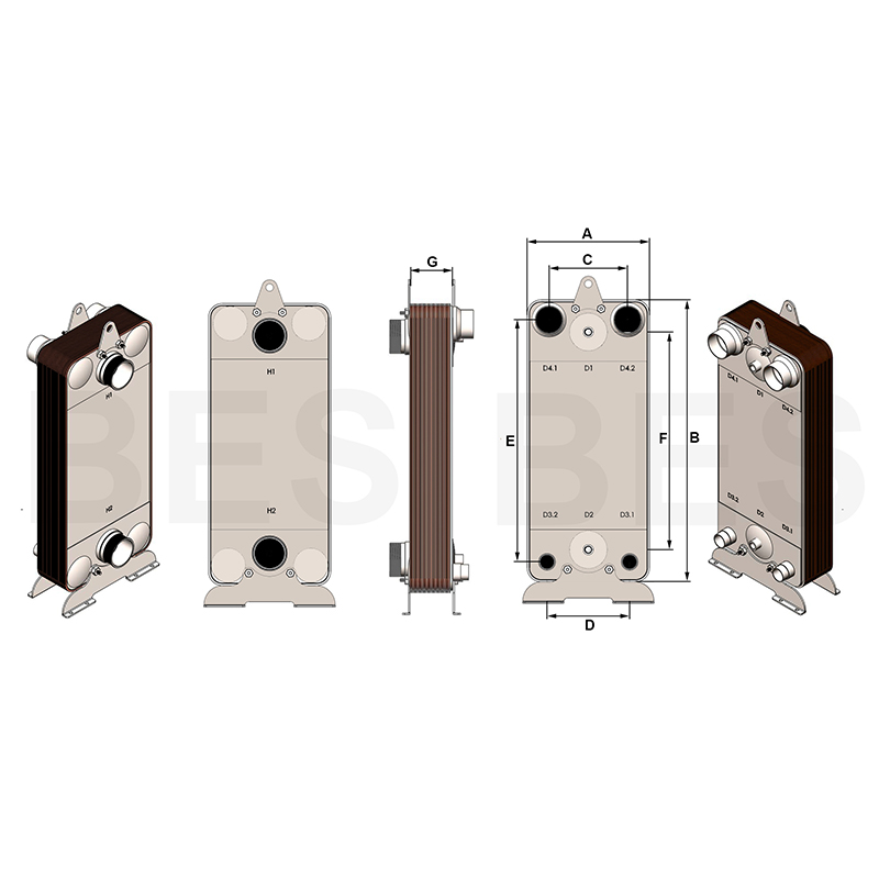 Brazed plate heat exchanger dimensions-01