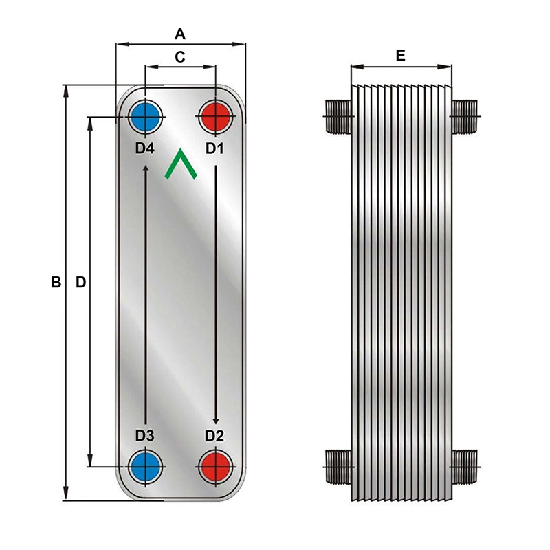 Brazed plate heat exchanger dimensions